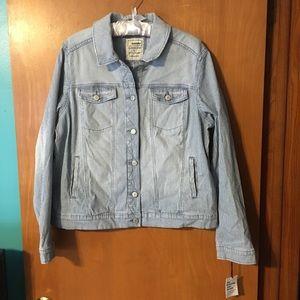 Sonoma Everyday Jean Jacket Pin Striped Sz L NWT